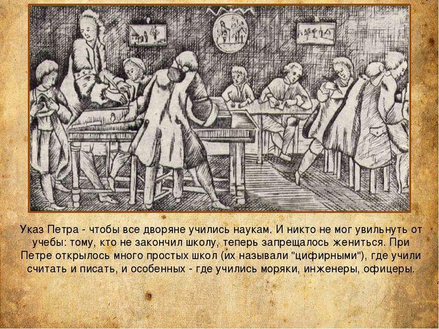 Указ Петра - чтобы все дворяне учились наукам. И никто не мог увильнуть от уч...