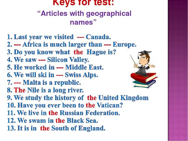"""Keys for test: """"Articles with geographical names"""""""