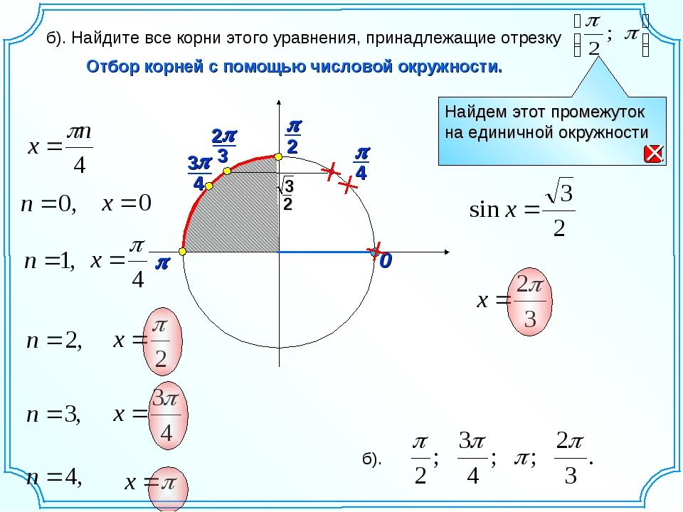 0 p Отбор корней с помощью числовой окружности. б). Найдите все корни этого у...