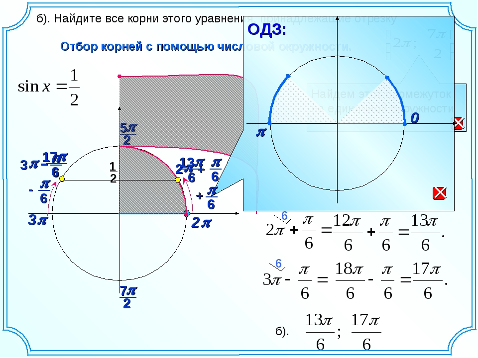3p Отбор корней с помощью числовой окружности. б). Найдите все корни этого ур...