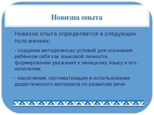 Новизна опыта Новизна опыта определяется в следующих положениях: - создание м