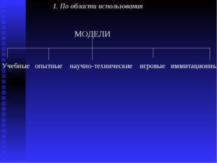 1. По области использования  МОДЕЛИ Учебные опытные научно-техническ