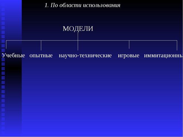 1. По области использования  МОДЕЛИ Учебные опытные научно-техническ...