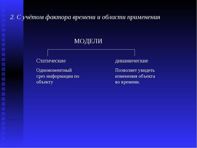 2. С учётом фактора времени и области применения   МОДЕЛИ Статические...