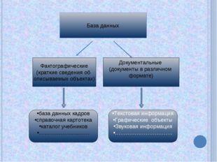 База данных Фактографические (краткие сведения об описываемых объектах) Докум