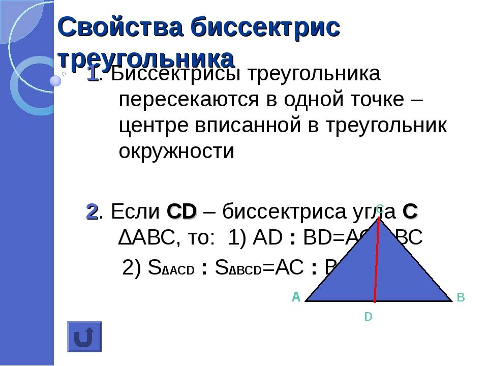 Свойства биссектрис треугольника 1. Биссектрисы треугольника пересекаются в о...