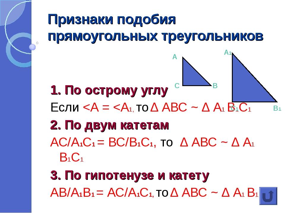 Признаки подобия прямоугольных треугольников 1. По острому углу Если