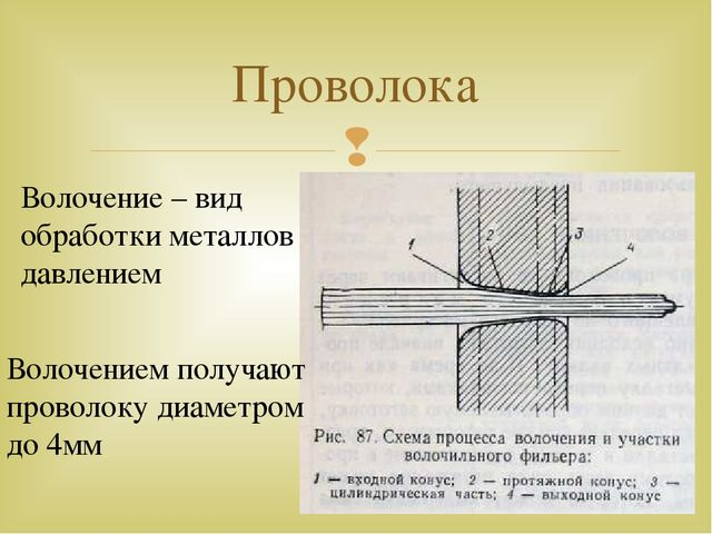 Проволока Волочение – вид обработки металлов давлением Волочением получают пр...