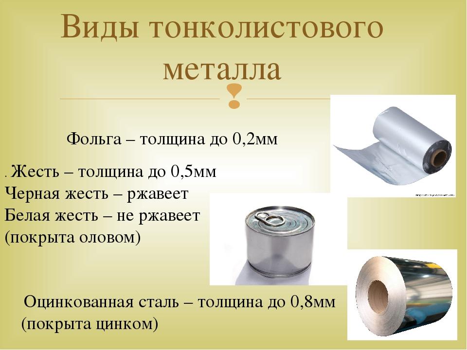 Виды тонколистового металла Фольга – толщина до 0,2мм . Жесть – толщина до 0,...