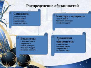 Распределение обязанностей Социологи: Табаяков Никита Науменко Андрей Ена Ал