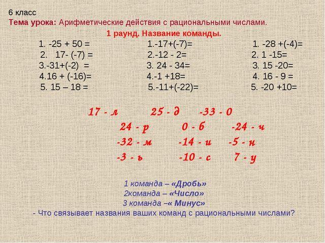 1 раунд. Название команды. 1. -25 + 50 = 1.-17+(-7)= 1. -28 +(-4)= 2. 17- (-7...