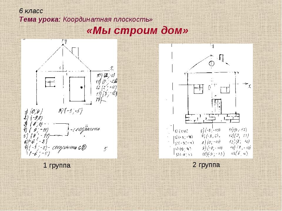 1 группа 2 группа 6 класс Тема урока: Координатная плоскость» «Мы строим дом»