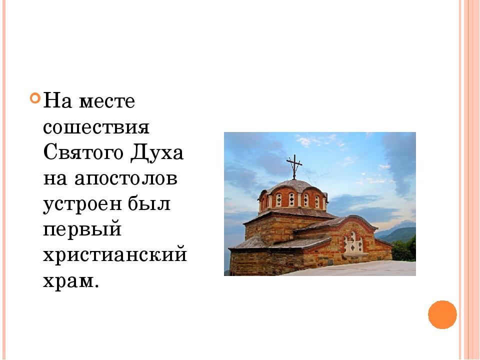 На месте сошествия Святого Духа на апостолов устроен был первый христианский...