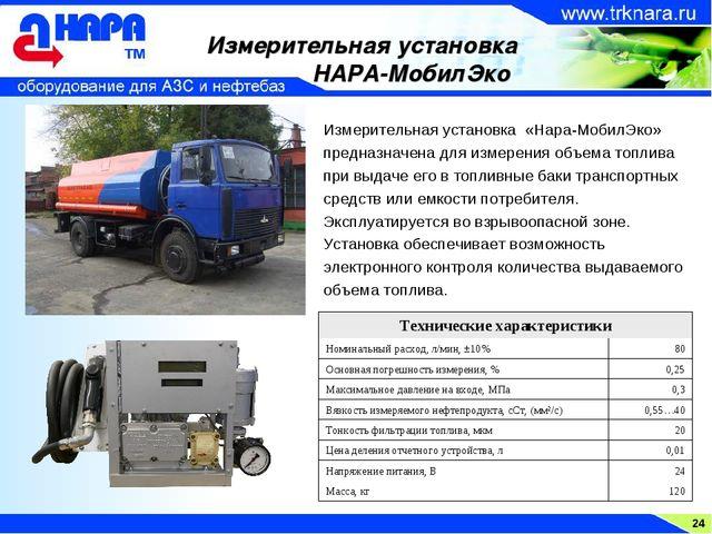 24 Измерительная установка НАРА-МобилЭко Измерительная установка «Нара-МобилЭ...