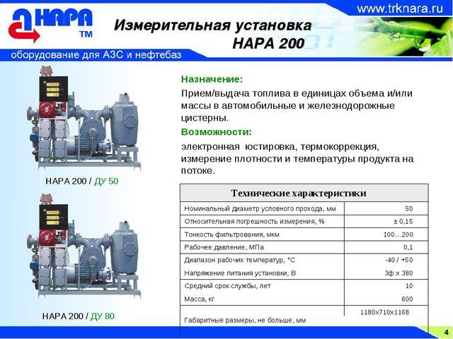 4 Измерительная установка НАРА 200 Назначение: Прием/выдача топлива в единица...