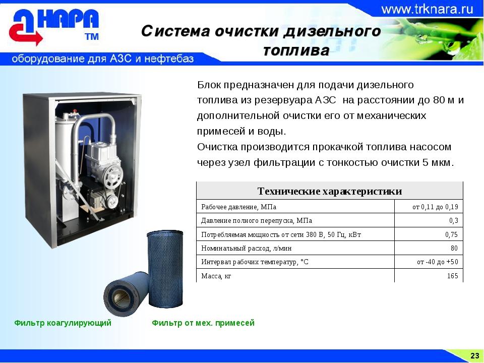 23 Система очистки дизельного топлива Фильтр коагулирующий Фильтр от мех. при...