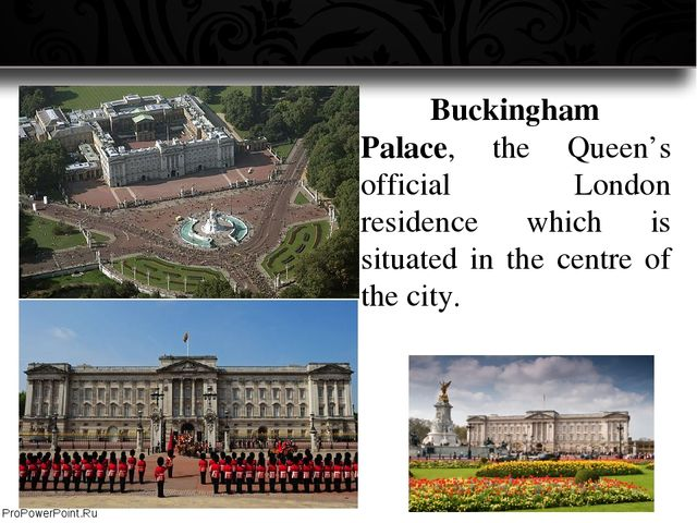 Buckingham Palace, the Queen's official London residence which is situated...
