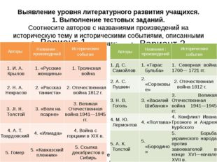 Выявление уровня литературного развития учащихся. 1. Выполнение тестовых зада