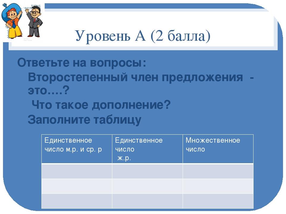 Уровень А (2 балла) Ответьте на вопросы: Второстепенный член предложения - эт...