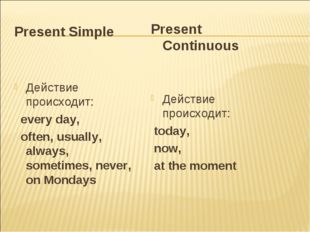 Present Simple Действие происходит: every day, often, usually, always, someti