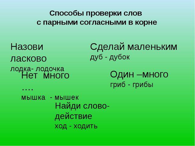 Способы проверки слов с парными согласными в корне Назови ласково лодка- лодо...