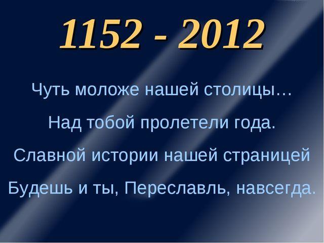 1152 - 2012 Чуть моложе нашей столицы… Над тобой пролетели года. Славной исто...