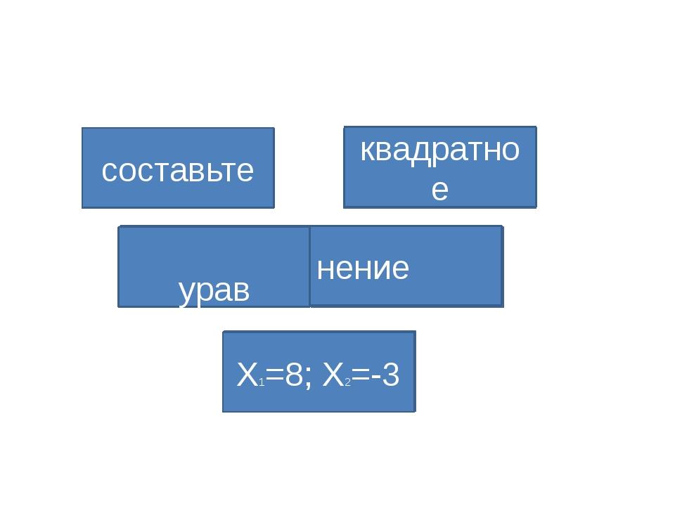 Х1=1; Х2=2 составьте квадратное урав нение Х1=8; Х2=-3