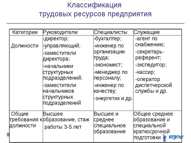 Классификация трудовых ресурсов предприятия *  КатегорииРуководителиСпеци...