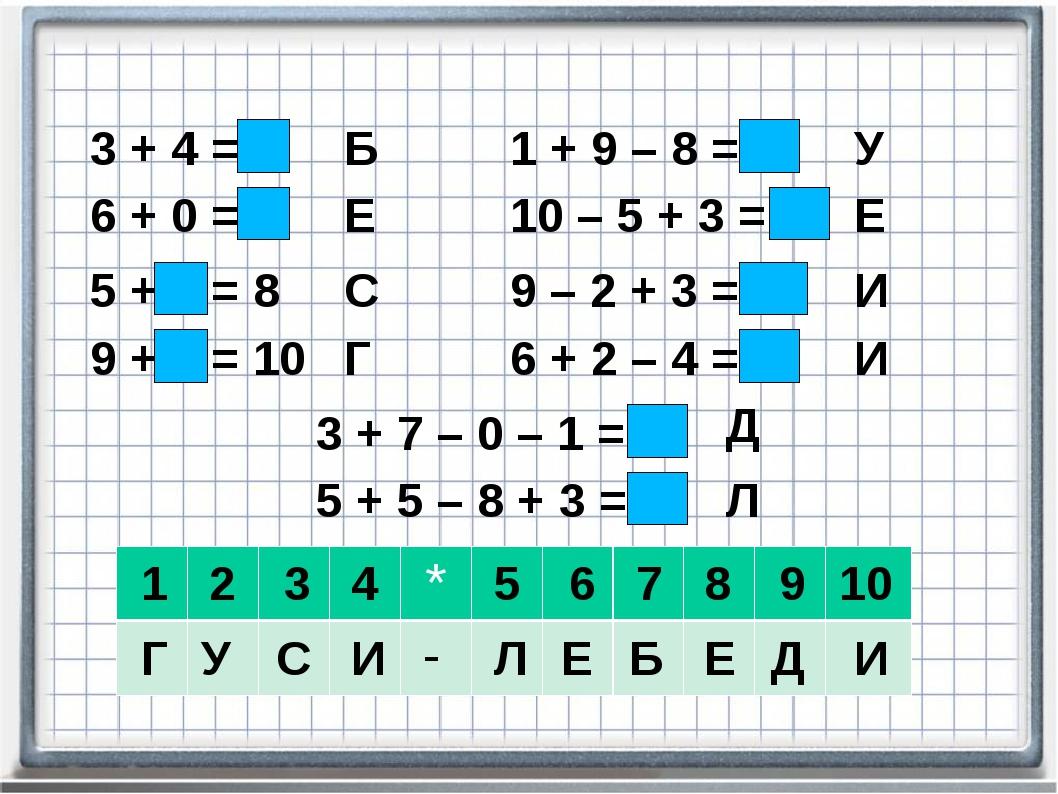 3 + 4 = 7 6 + 0 = 6 5 + 3 = 8 9 + 1 = 10 1 + 9 – 8 = 2 10 – 5 + 3 = 8 9 – 2 +...