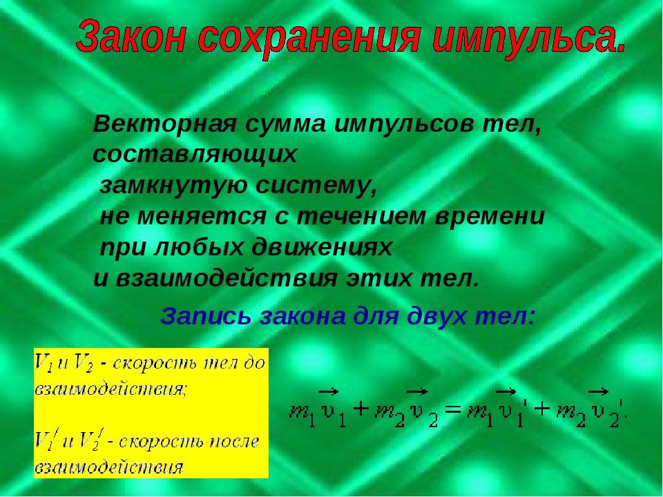 Векторная сумма импульсов тел, составляющих замкнутую систему, не меняется с...
