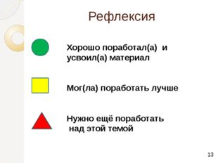 Рефлексия Хорошо поработал(а) и усвоил(а) материал Мог(ла) поработать лучше Н