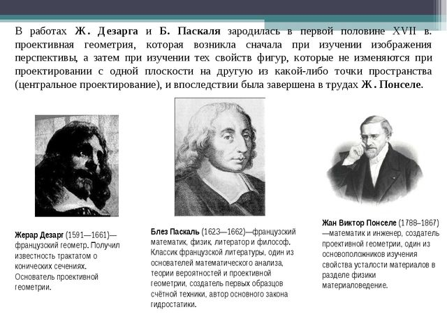 В работах Ж. Дезарга и Б. Паскаля зародилась в первой половине XVII в. проект...