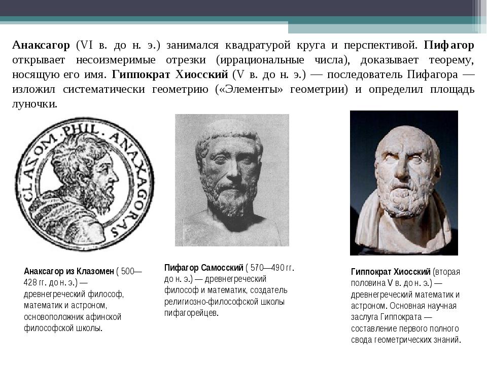 Анаксагор (VI в. до н. э.) занимался квадратурой круга и перспективой. Пифаго...