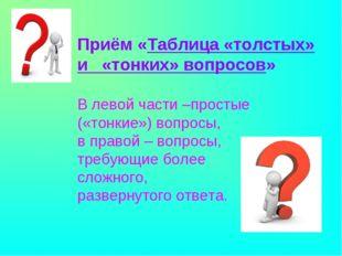 Приём «Таблица «толстых» и «тонких» вопросов» В левой части –простые («тонки
