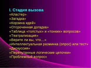I. Стадия вызова «Кластер» «Загадка» «Корзина идей» «Отсроченная догадка»