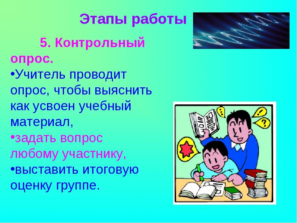 5. Контрольный опрос. Учитель проводит опрос, чтобы выяснить как усвоен уче...