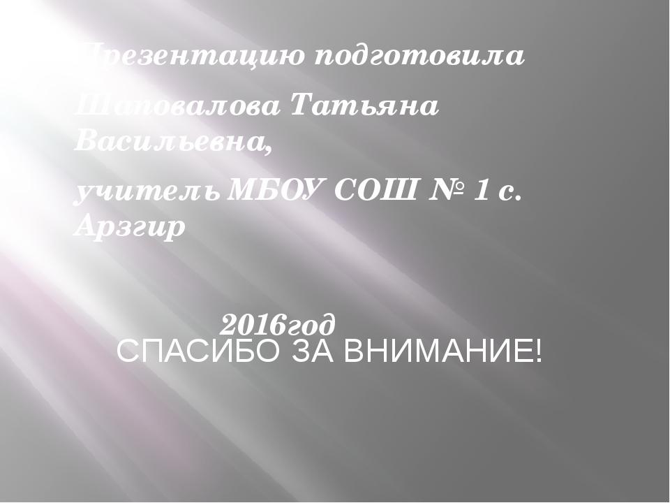 Презентацию подготовила Шаповалова Татьяна Васильевна, учитель МБОУ СОШ № 1 с...