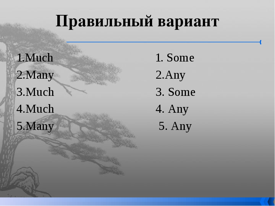 Правильный вариант 1.Much 1. Some 2.Many 2.Any 3.Much 3. Some 4.Much 4. Any 5...