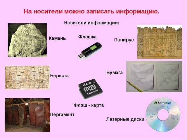 На носители можно записать информацию. Носители информации: Береста Пергамент...