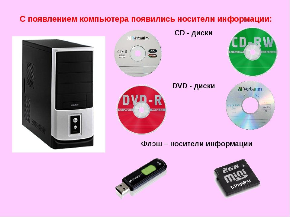 С появлением компьютера появились носители информации: CD - диски DVD - диски...