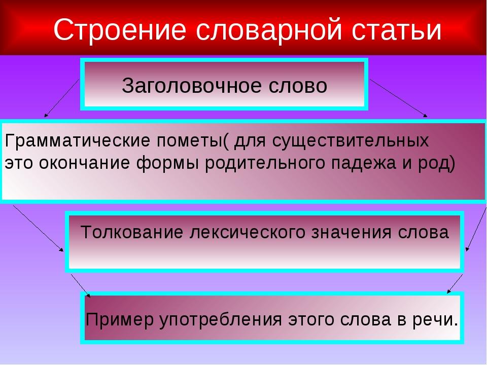 Строение словарной статьи Заголовочное слово Грамматические пометы( для суще...