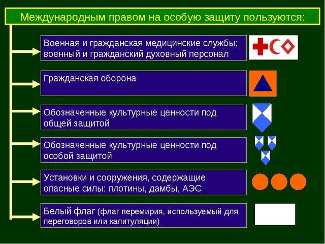 Международным правом на особую защиту пользуются: Военная и гражданская медиц...