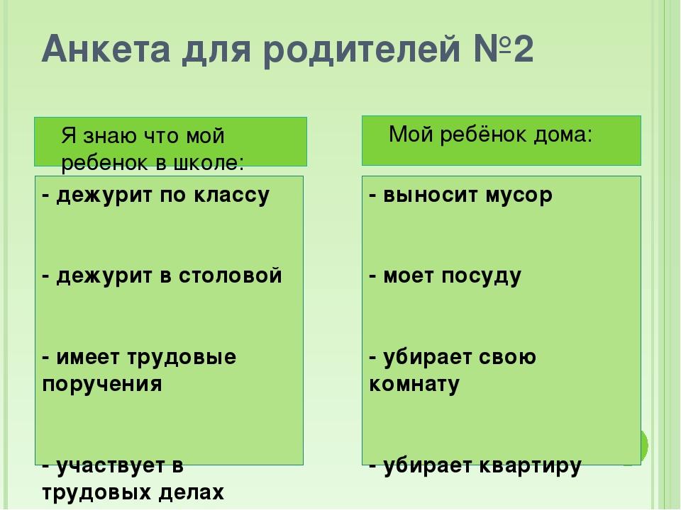 Анкета для родителей №2 - дежурит по классу - дежурит в столовой - имеет труд...