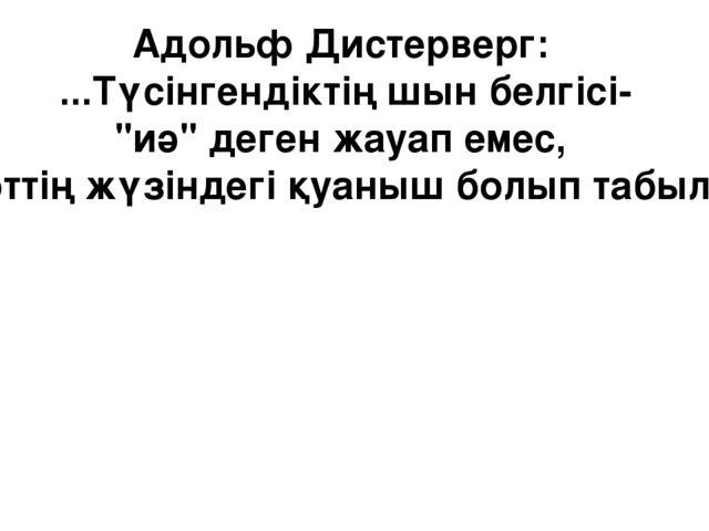 """Адольф Дистерверг: ...Түсінгендіктің шын белгісі- """"иә"""" деген жауап емес, шәкі..."""