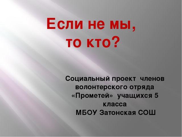 Если не мы, то кто? Социальный проект членов волонтерского отряда «Прометей»...