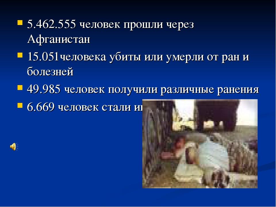 5.462.555 человек прошли через Афганистан 15.051человека убиты или умерли от...
