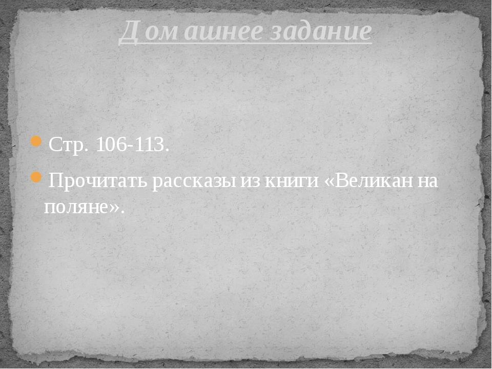 Стр. 106-113. Прочитать рассказы из книги «Великан на поляне». Домашнее задание