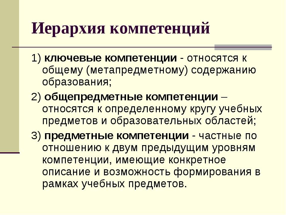 Иерархия компетенций 1) ключевые компетенции - относятся к общему (метапредме...