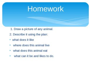 Homework 1. Draw a picture of any animal. 2. Describe it using the plan: what