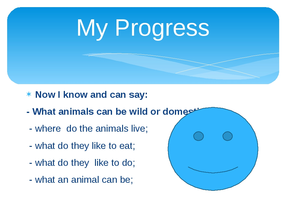 My Progress Now I know and can say: - What animals can be wild or domestic; -...